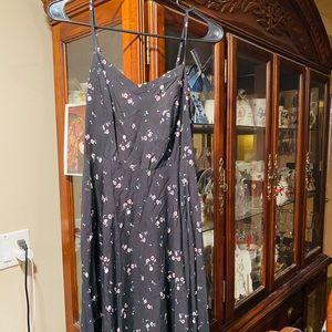 Old Navy Black Flowered Side ZIP Dress 👗 NWOT